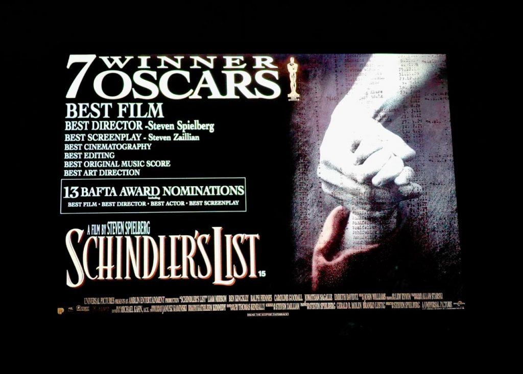 """Plakat z nominacjami do Oskara dla filmu """"Lista Schindlera"""""""