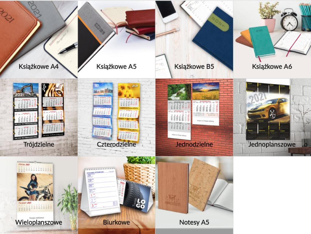 U nas zamówisz nie tylko kalendarze ścienne; jednoplanszowe i wieloplanszowe, jednodzielne, trójdzielne, czterodzielne, ale również kalendarze książkowe, biurkowe i notesy. Do tego torby ozdobne z indywidualnym nadrukiem.  Nasze Kalendarze 2021 Książkowe i Indywidualne to świetny sposób na promocję firmy przez cały rok. Doskonały prezent biznesowy, potrzebny każdego dnia.
