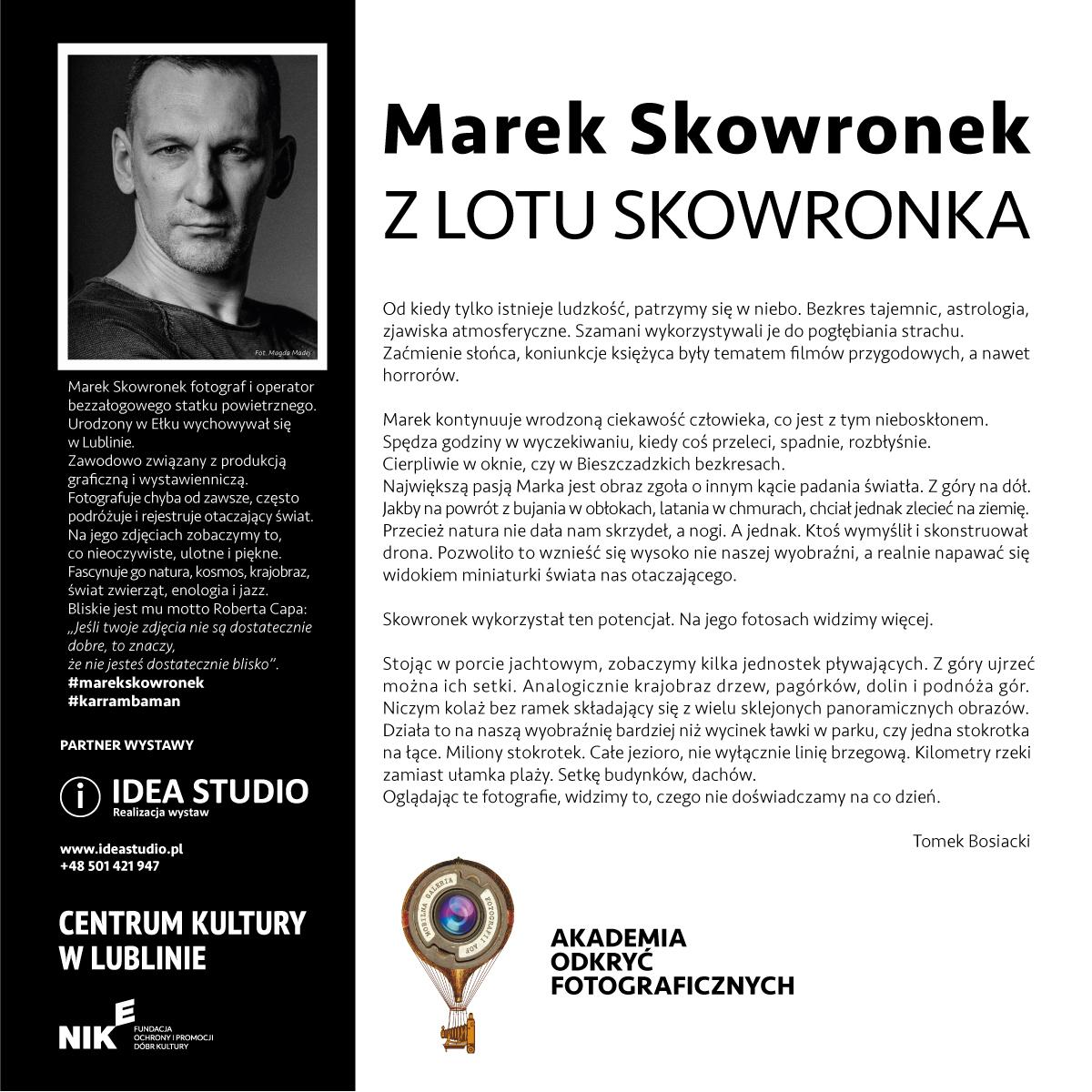Wystawa fotografii lotniczej Marka Skowronka, AOF, Centrum Kultury w Lublinie
